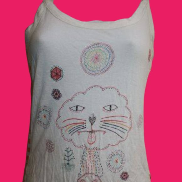Insight White Camisole Top w Cat Jr Small